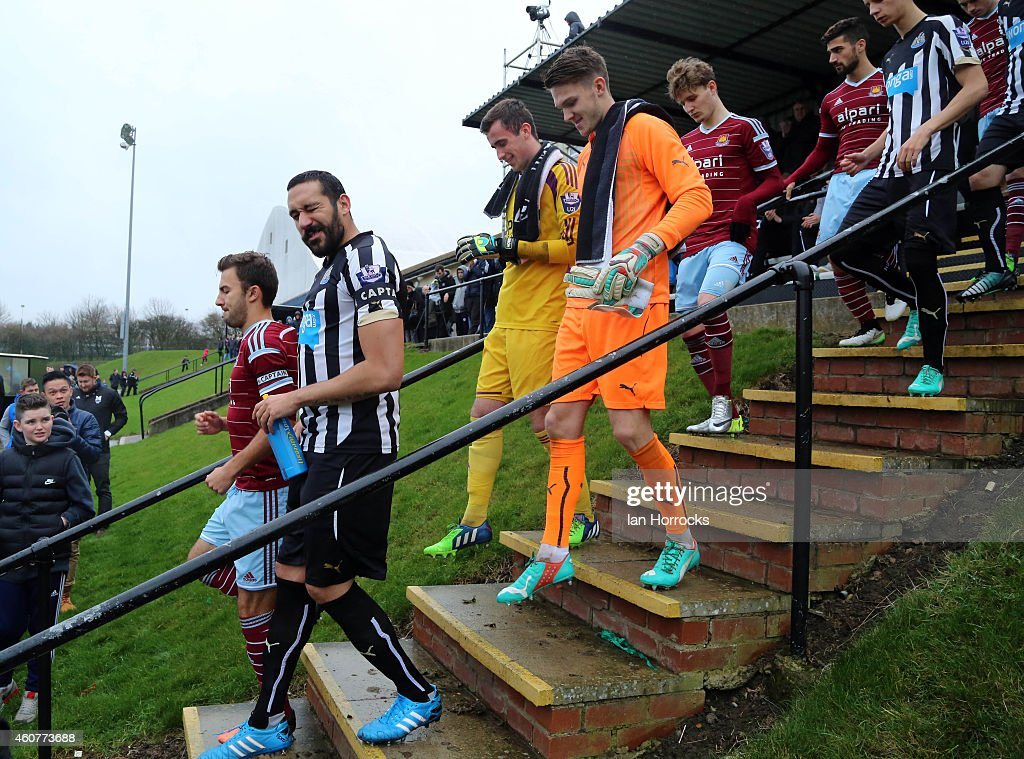 Jonas Gutierrez plays his first game since recovering from cancer during the Barclays U21 Premier League between Newcastle United and West Ham at Whitley Park Park on December 22, 2014 in Newcastle, England.