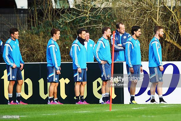Jonas Hector Max Kruse Mesut Oezil Benedikt Hoewedes Sami Khedira and Shkodran Mustafi attend a Germany training at Kleine Kampfbahn training ground...