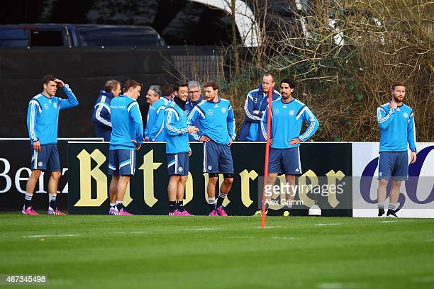 Jonas Hector Max Kruse Mesut Oezil Sami Khedira and Shkodran Mustafi attend a Germany training at Kleine Kampfbahn training ground on March 23 2015...
