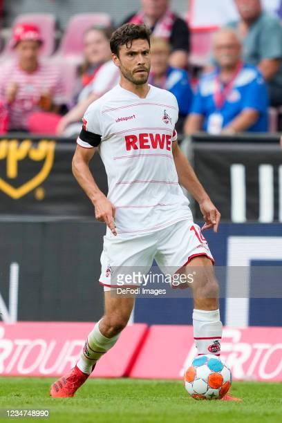 Jonas Hector of 1.FC Koeln controls the ball during the Bundesliga match between 1. FC Koeln and Hertha BSC at RheinEnergieStadion on August 15, 2021...