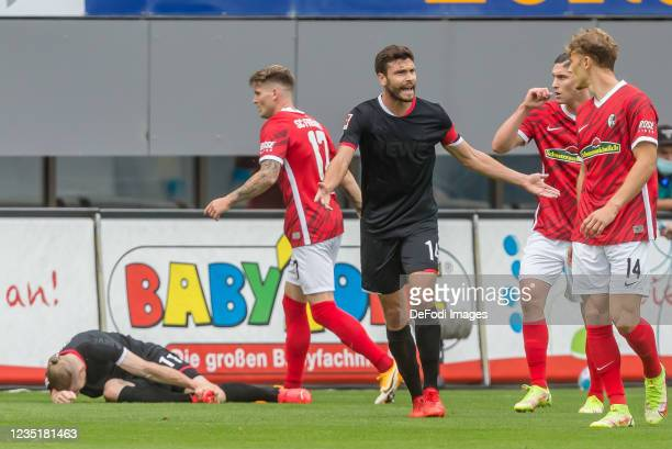 Jonas Hector of 1.FC Koeln gestures during the Bundesliga match between Sport-Club Freiburg and 1. FC Koeln at Dreisamstadion on September 11, 2021...
