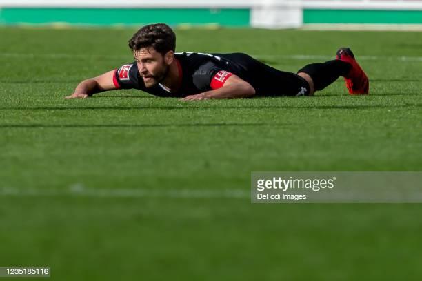 Jonas Hector of 1.FC Koeln looks dejected during the Bundesliga match between Sport-Club Freiburg and 1. FC Koeln at Dreisamstadion on September 11,...