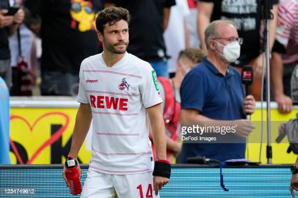 Jonas Hector of 1.FC Koeln looks on during the Bundesliga match between 1. FC Koeln and Hertha BSC at RheinEnergieStadion on August 15, 2021 in...