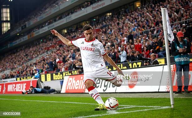 Jonas Hector of Cologne with a corner kick during the Bundesliga match between 1. FC Koeln and FC Ingolstadt at RheinEnergieStadion on September 25,...
