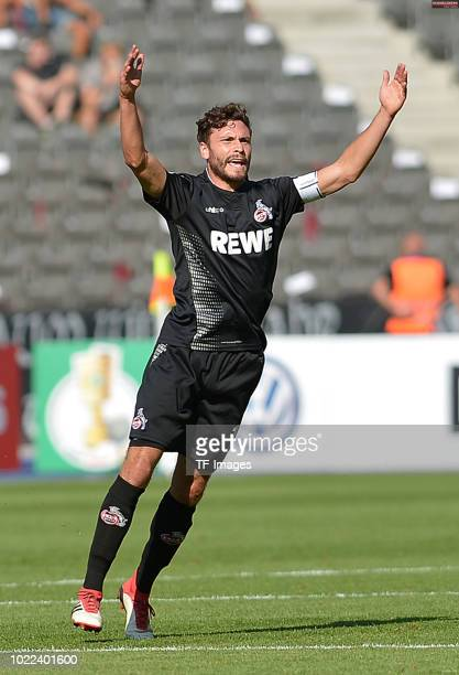 Jonas Hector of FC Koeln gestures during the DFB Cup first round match between BFC Dynamo and 1 FC Koeln at Olympiastadion on August 19 2018 in...