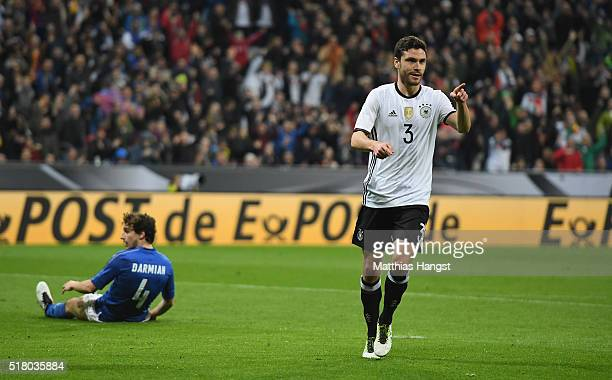 Jonas Hector of Germany celebrates after scoring his teams third goal during the International Friendly match between Germany and Italy at Allianz...