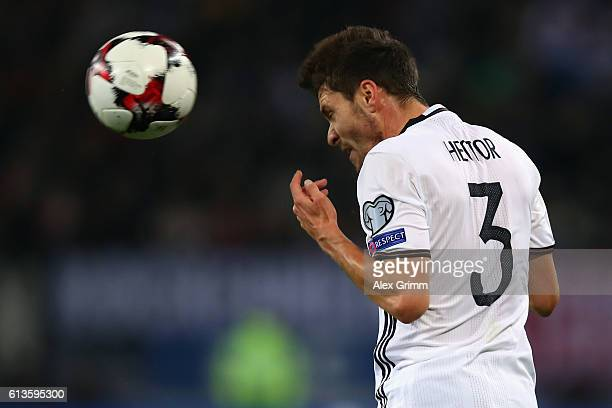 Jonas Hector of Germany heads the ball during the FIFA World Cup 2018 qualifying match between Germany and Czech Republic at Volksparkstadion on...