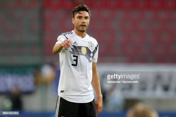 Jonas Hector of Germany reacts during the International Friendly match between Austria and Germany at Woerthersee Stadion on June 2 2018 in...