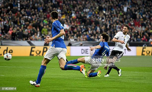 Jonas Hector of Germany scores his teams third goal during the International Friendly match between Germany and Italy at Allianz Arena on March 29...