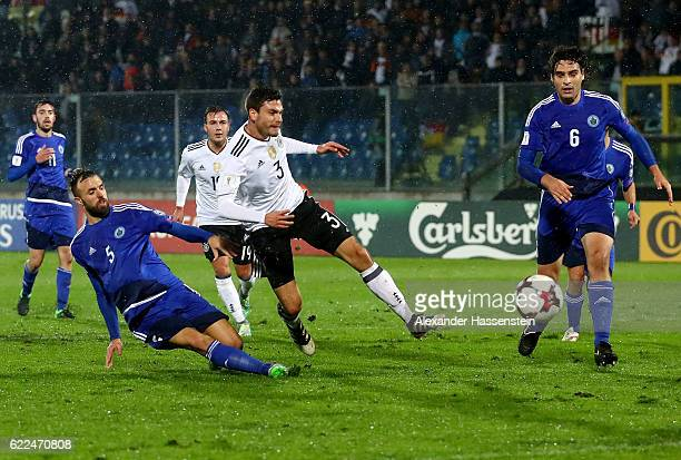 Jonas Hector of Germany scores the 3rd goal over Fabio Vitaloli of San Marino during the FIFA 2018 World Cup Qualifier between San Marino and Germany...