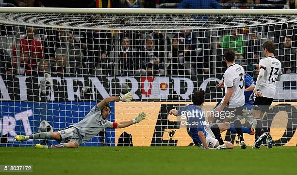 Jonas Hector of Germany scores the third goal during the international friendly match between Germany and Italy at Allianz Arena on March 29 2016 in...
