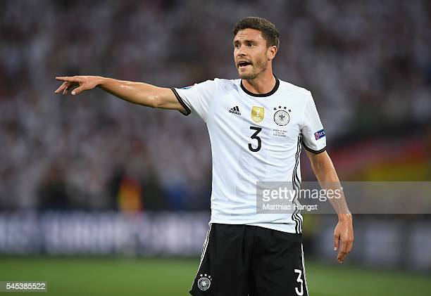 Jonas Hector of Germany signals during the UEFA EURO semi final match between Germany and France at Stade Velodrome on July 7 2016 in Marseille France