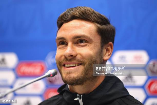 Jonas Hector of Germany talks to the media during a Press Conference of the German national team ahead of their FIFA Confederations Cup Russia 2017...