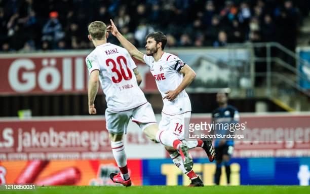 Jonas Hector of Köln celebrates after scoring his teams second goal during the Bundesliga match between SC Paderborn 07 and 1. FC Köln at Benteler...