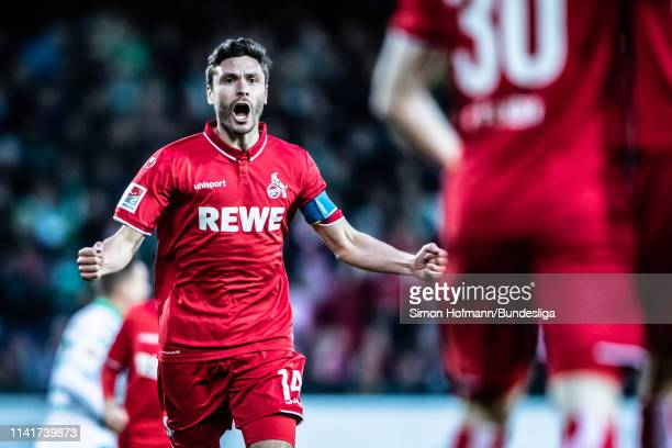 Jonas Hector of Koeln celebrates a goal during the Second Bundesliga match between SpVgg Greuther Fuerth and 1 FC Koeln at Sportpark Ronhof Thomas...