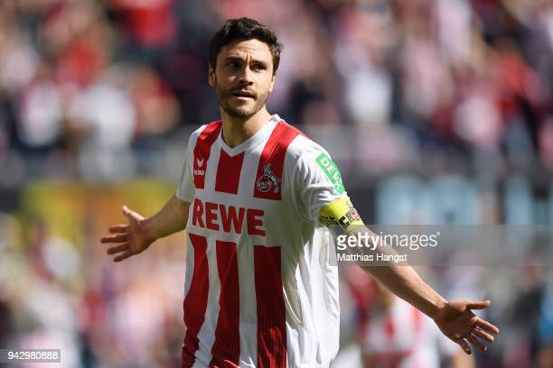 Jonas Hector of Koeln celebrates after he scored a goal to make it 10 during the Bundesliga match between 1 FC Koeln and 1 FSV Mainz 05 at...