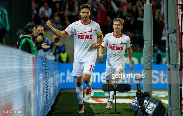 Jonas Hector of Koeln celebrates after scoring his teams first goal during the Second Bundesliga match between 1 FC Koeln and MSV Duisburg at...