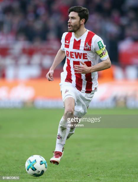 Jonas Hector of Koeln controls the ball during the Bundesliga match between 1 FC Koeln and Hannover 96 at RheinEnergieStadion on February 17 2018 in...