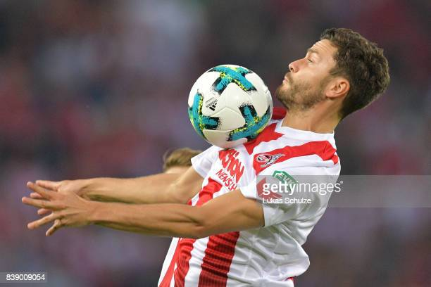 Jonas Hector of Koeln during the Bundesliga match between 1 FC Koeln and Hamburger SV at RheinEnergieStadion on August 25 2017 in Cologne Germany