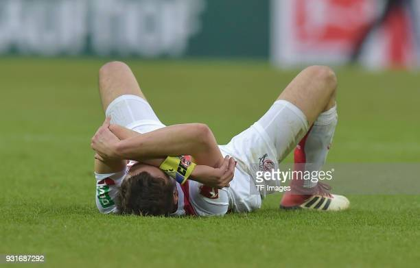 Jonas Hector of Koeln on the ground after the Bundesliga match between 1 FC Koeln and VfB Stuttgart at RheinEnergieStadion on March 4 2018 in Cologne...
