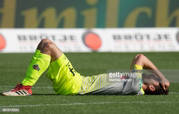 Jonas Hector of Koeln shows his disappointment during the Bundesliga match between Sport-Club Freiburg and 1. FC Koeln at Schwarzwald-Stadion on...