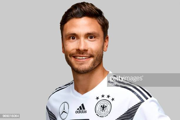 Jonas Hector poses for a photo during a portrait session ahead of the 2018 FIFA World Cup Russia at Eppan training ground on June 5 2018 in Eppan...