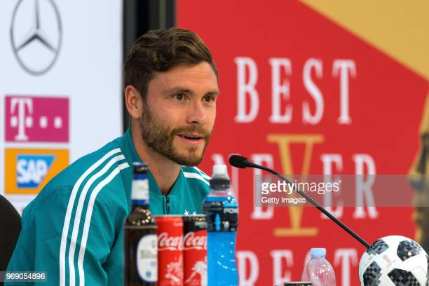 Jonas Hector talks to the media during the final press conference at the DFB media center on June 7 2018 in Eppan Italy