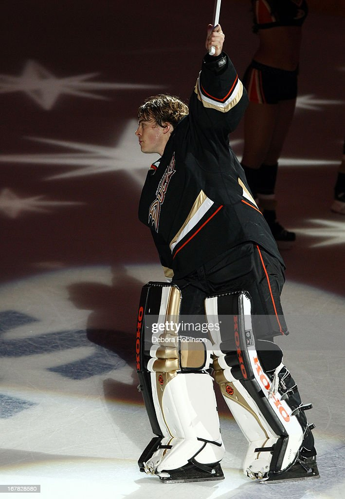 Jonas Hiller #1 of the Anaheim Ducks celebrates after the Ducks 3-1 win against the Detroit Red Wings in Game One of the Western Conference Quarterfinals during the 2013 NHL Stanley Cup Playoffs at Honda Center on April 30, 2013 in Anaheim, California.