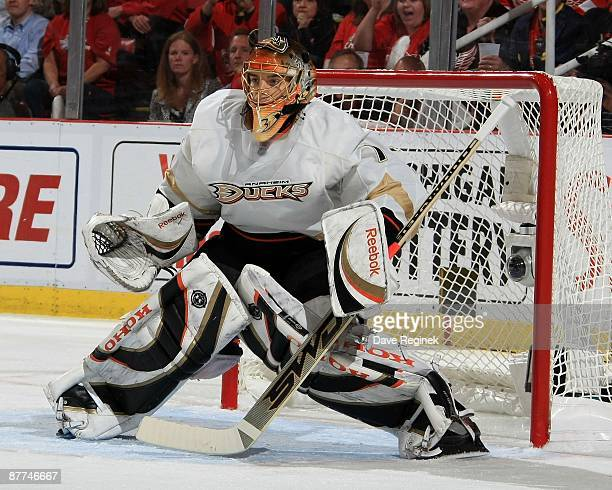 Jonas Hiller of the Anaheim Ducks watches the play from his net during Game Seven of the Western Conference Semifinal Round of the 2009 Stanley Cup...