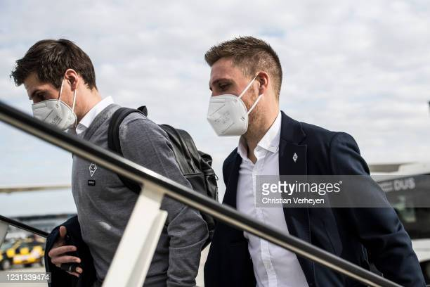 Jonas Hofmann and Patrick Herrmann of Borussia Moenchengladbach are seen as the team travel to Budapest for their upcoming UEFA Champions League...