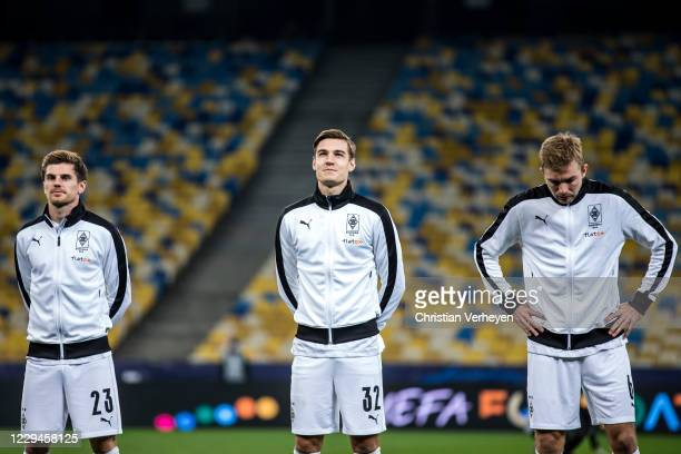 Jonas Hofmann Florian Neuhaus and Christoph Kramer of Borussia Moenchengladbach are seen during the Group B UEFA Champions League match between...