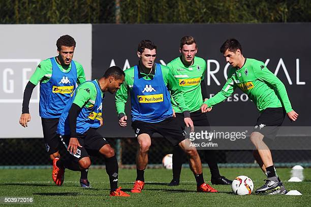 Jonas Hofmann is challenged by Raffael during a Borussia Moenchengladbach training session on day 3 of the Bundesliga Belek training camps at Maxx...