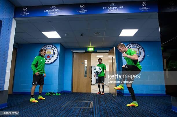 Jonas Hofmann Julian Korb and Andre Hahn of Borussia Moenchengladbach ahead the training session ahead the Uefa Champions League match between...