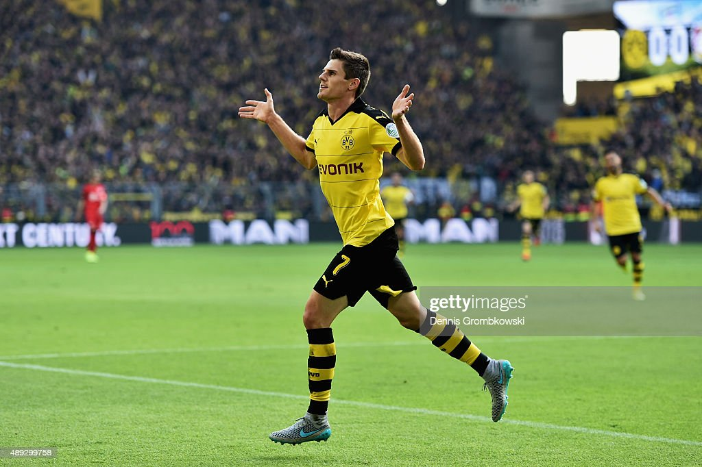 Jonas Hofmann of Borussia Dortmund celebrates as he scores the opening goal during the Bundesliga match between Borussia Dortmund and Bayer Leverkusen at Signal Iduna Park on September 20, 2015 in Dortmund, Germany.