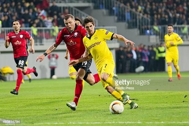 Jonas Hofmann of Borussia Dortmund in action against Olexiy Gai of Qabala during the UEFA Europa League match between Qabala FK and Borussia Dortmund...