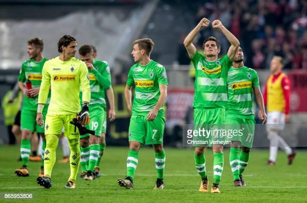Jonas Hofmann of Borussia Moenchengladbach celebrate winning the DFB Cup match between Fortuna Duesseldorf and Borussia Moenchengladbach at...