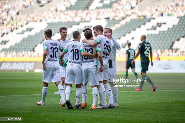 Jonas Hofmann of Borussia Moenchengladbach celebrate with his team mates after he score his teams second goal the Bundesliga match between Borussia...