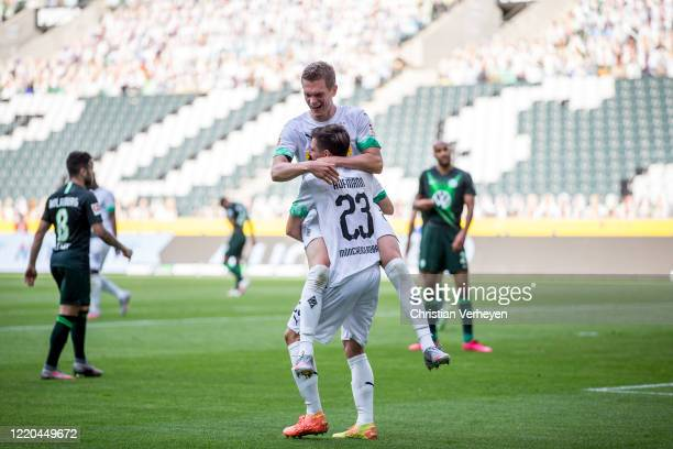 Jonas Hofmann of Borussia Moenchengladbach celebrate with Matthias Ginter after he score his teams second goal the Bundesliga match between Borussia...