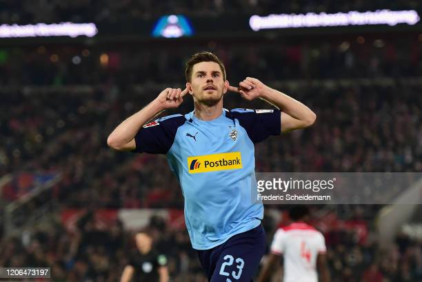 Jonas Hofmann of Borussia Moenchengladbach celebrates after scoring his team's first goal during the Bundesliga match between Fortuna Duesseldorf and...