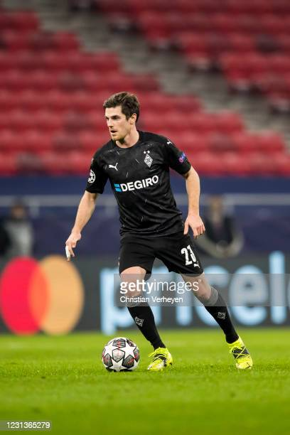 Jonas Hofmann of Borussia Moenchengladbach in action during the UEFA Champions League Round Of 16 Leg One match between Borussia Moenchengladbach and...