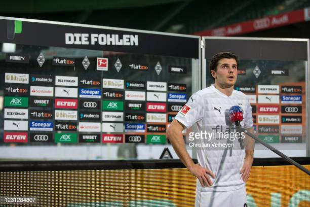 Jonas Hofmann of Borussia Moenchengladbach talks to the media after the Bundesliga match between Borussia Moenchengladbach and 1. FSV Mainz 05 at...