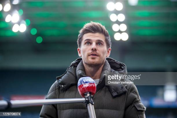 Jonas Hofmann of Borussia Moenchengladbach talks to the media before the Bundesliga match between Borussia Moenchengladbach and FC Augsburg at...