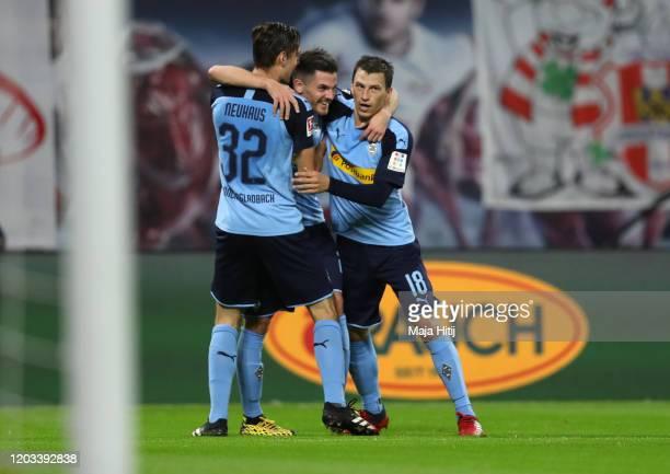 Jonas Hofmann of Borussia Monchengladbach celebrates after scoring his sides second goal during the Bundesliga match between RB Leipzig and Borussia...