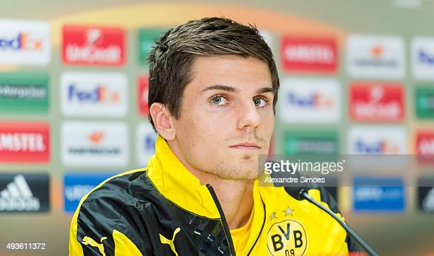 Jonas Hofmann of Dortmund during the press conference prior to the Europa League group stage match between Qabala FK and Borussia Dortmund at Bakcell...