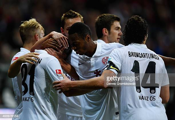 Jonas Hofmann of FSV Mainz 05 celebrates the first goal during the Bundesliga match between Eintracht Frankfurt and 1 FSV Mainz 05 at...