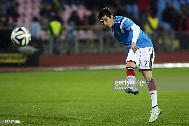 Jonas Hofmann of Germany in action before the UEFA U21 Championship First Leg Playoff between Ukraine and Germany at the KP Tcentralnyi Stadium on...