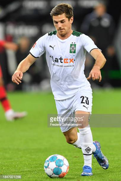Jonas Hofmann of Moenchengladbach controls the ball during the Bundesliga match between Borussia Mönchengladbach and VfB Stuttgart at Borussia-Park...