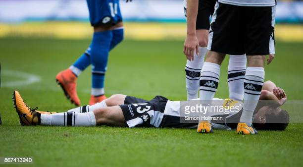 Jonas Hofmann of Moenchengladbach is injured during the Bundesliga match between TSG 1899 Hoffenheim and Borussia Moenchengladbach at Wirsol...