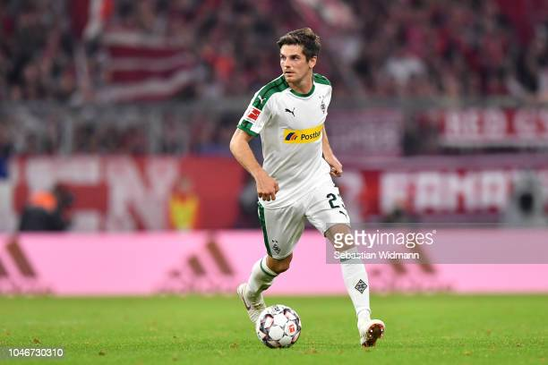 Jonas Hofmann of Moenchengladbach plays the ball during the Bundesliga match between FC Bayern Muenchen and Borussia Moenchengladbach at Allianz...