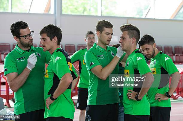Jonas Hofmann Patrick Herrmann and Julian Korb of Borussia Moenchengladbach during a Lactate Test in Duesseldorf on June 28 2016 in Moenchengladbach...